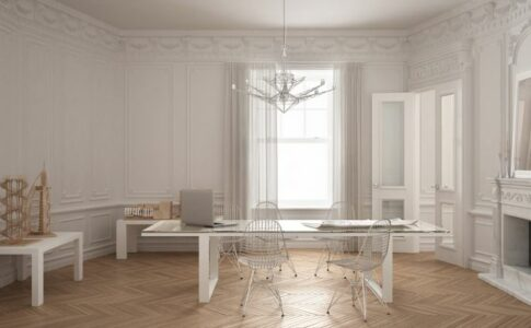 Altbauwohnung mit Schreibtisch