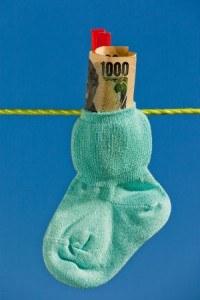 Geld in Babysocke