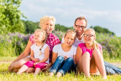 Eine fröhliche Patchwork Familie