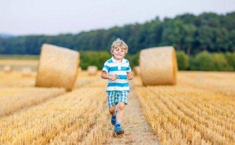 kleiner Junge rennt über Feld