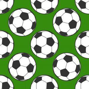 Fußballtapete mit schwarz-weißen Fußbällen und grünem Hintergrund.