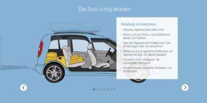 Infografik wie ein Auto richtig beladen wird