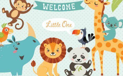 Bild mit Tieren zur Begrüßung für ein Neugeborenes