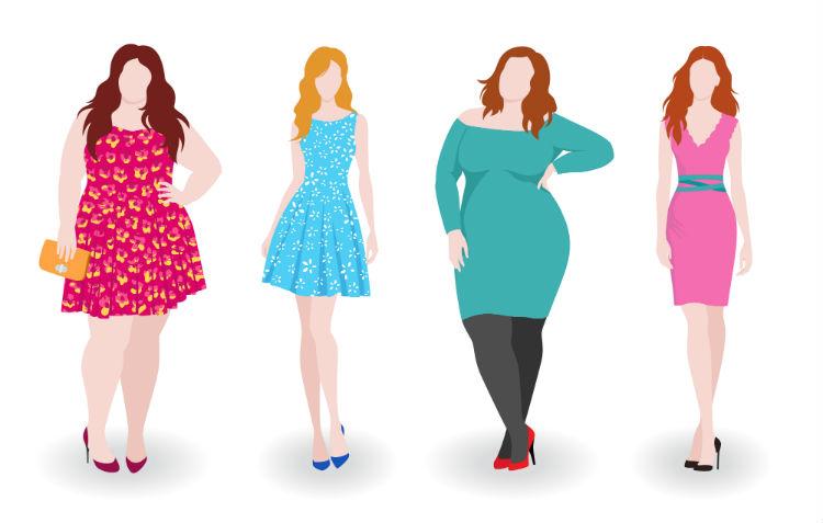 Vier Frauen mit unterschiedlichen Körpergrößen