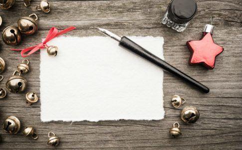 Weihnachtskarte mit Füller und Tinte