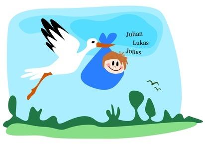Ein Comic mit einem Storch und einem Baby im Beutel.