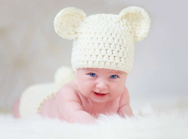 funny baby with bunnycap funny babypictures