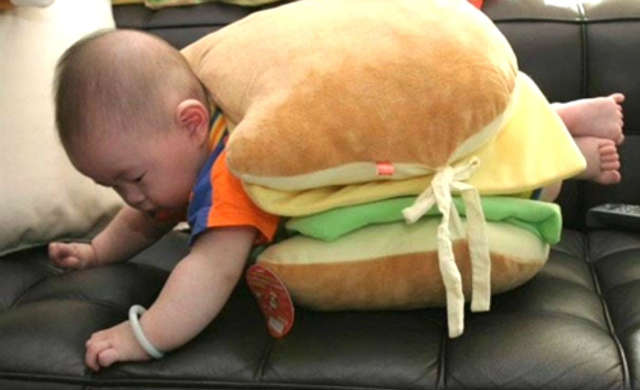 funny baby picture burger