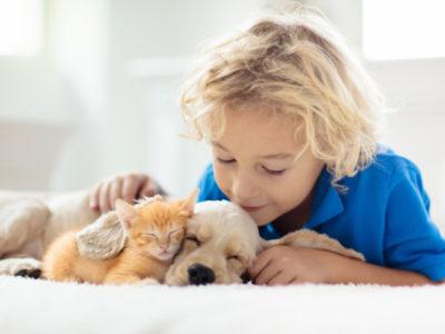 Kind mit seinen Haustieren
