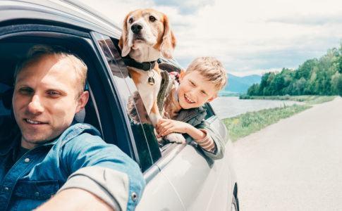 Eine Famileie fährt mit dem Auto und schaut aus dem Fenster