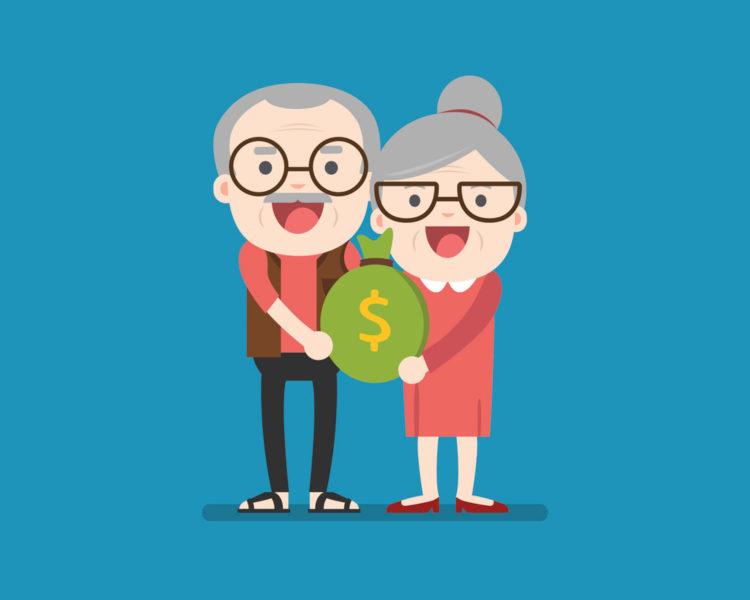 Altes Ehepaar welches ein Geldsack in der Hand halten