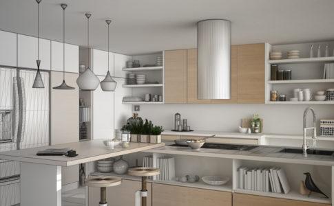 Eine Skizze einer Küche