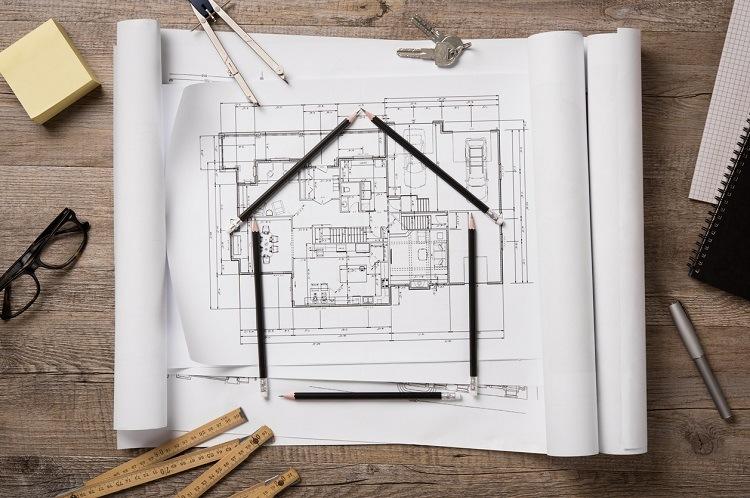 Sketch eines Hauses mit Räumen